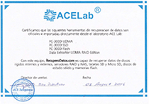 Certificado de ACE Laboratory PC-3000
