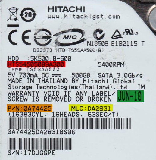 Etiqueta de disco Hitachi