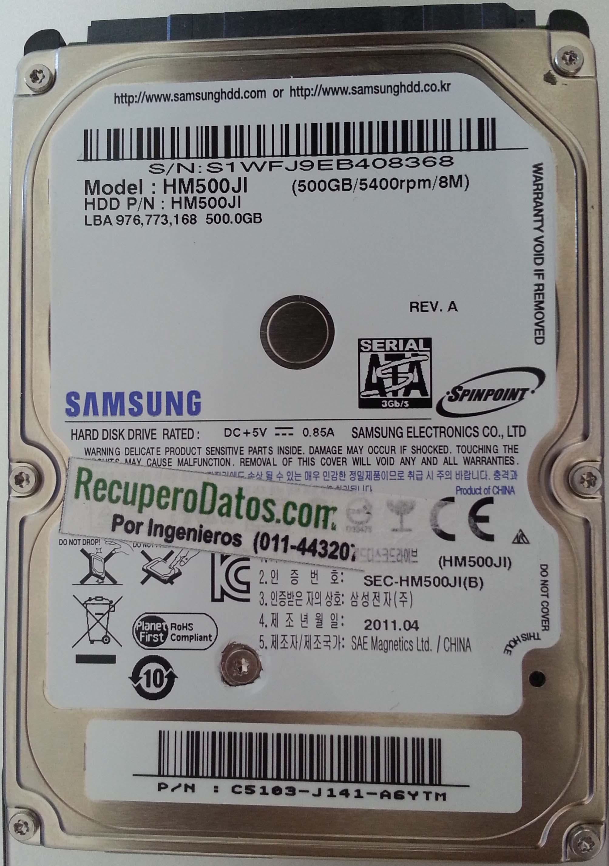 Samsung HM500JI 500GB SATA | RecuperoDatos com
